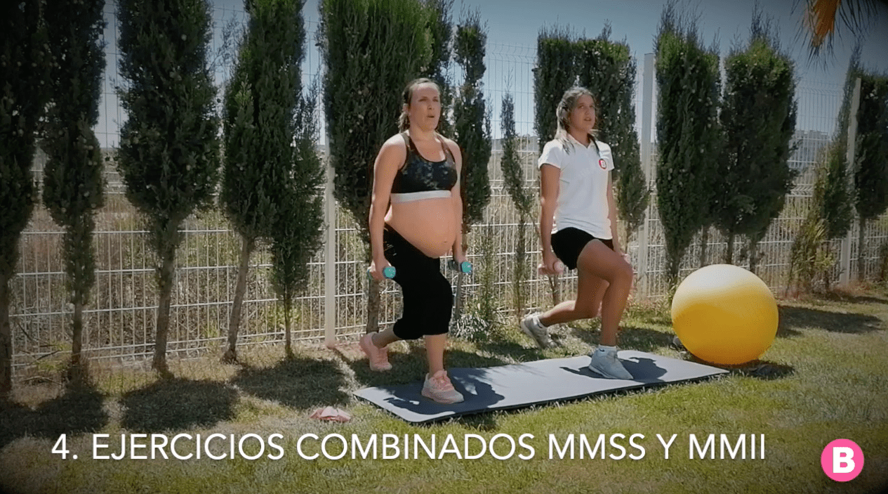 Ejercicios combinados brazos piernas para embarazadas